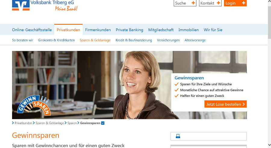 Screenshot Volksbank Triberg eG